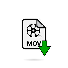 Mov file with green arrow download button on white background vector