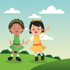 Group of happy girls cartoon kids. Childhood student and happyness theme. Colorful design. Vector illustration