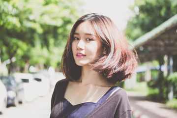 thai adult student university beautiful girl relax and smile