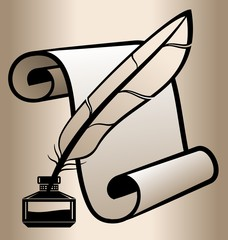 The feather in the inkwell on a background of the scroll.
