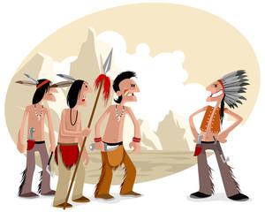 Four indians in prairie