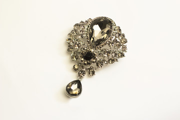 Beautiful vintage  brooch with  black stones