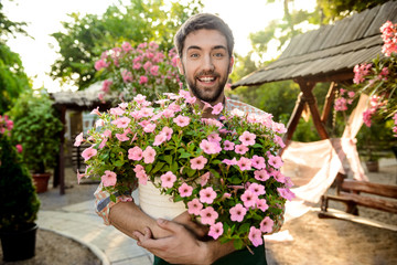 Young handsome cheerful gardener smiling, holding big pot with flowers.