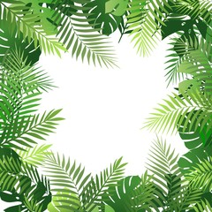 Summer tropical background with palm leaves. Exotic wallpaper, card, poster, placard, frame.