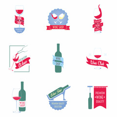 Set of wine shop logos, labels and symbols