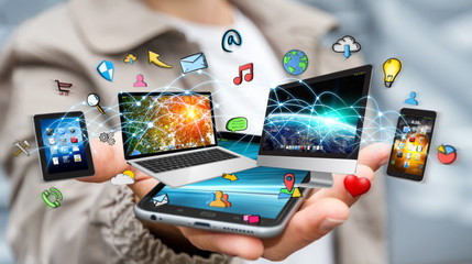 Businessman connected tech devices and icons applications