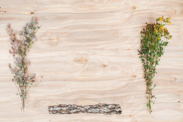 Dry plants collage compoition at wooden desk