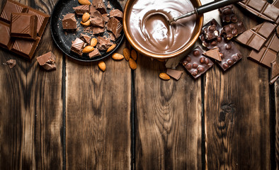 Chocolate cream with slices