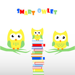 Smart Owlet, Cute Owl, Vector Illustration