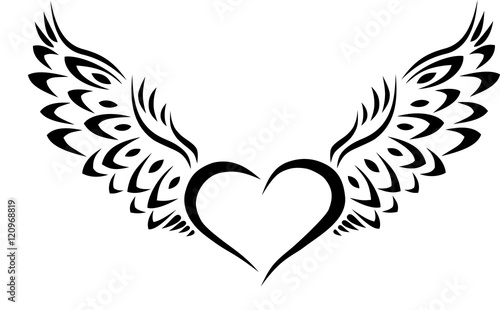 Heart With Wings Tribal Tattoo Stock Image And Royalty Free Vector