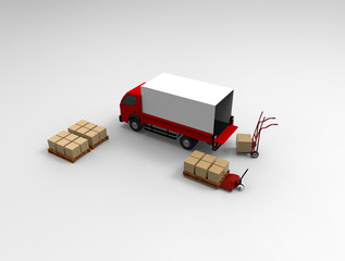 Truck, handtruck  and handlift.