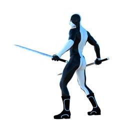 a young strong man in a white and black super suit. He stands and holds two iron sword in his two hands. Back view