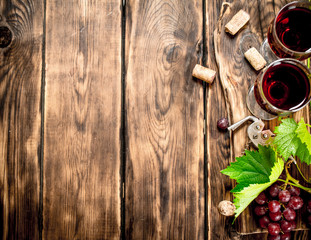Red wine with a vine branch.