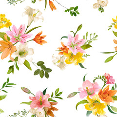 Spring Lily Flowers Backgrounds - Seamless Floral Pattern - in vector