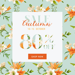 Autumn Sale Floral Banner - for Discount Poster, Fashion Sale