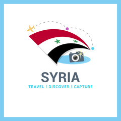 Syria Travel, Discover, Capture logo - Vector travel Photographer logo design - Country Flag Travel, Discover and Photographer Conceptual logotype - vector illustration