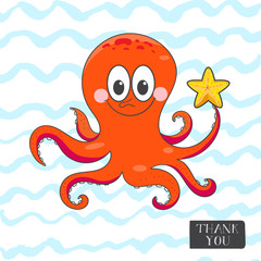 Postcard with a funny octopus.