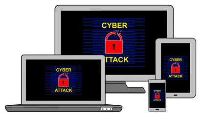 Cyber attack concept on different information technology devices