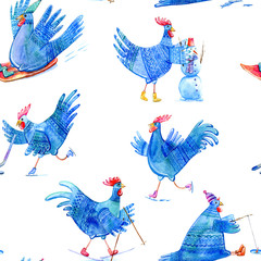Seamless pattern with comic rooster on skates,skiing,snowman,hockey,fishing and sled.Symbol of the new year 2017.Watercolor hand drawn illustration.Blue background.