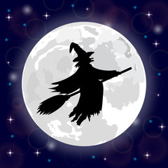 silhouette of a witch full moon