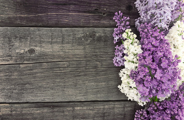Lilac blossom on rustic wooden background with empty space for g Wall mural