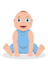 Cute baby boy sitting, isolated on white, smiling face, in blue clothes