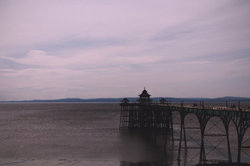 View of the seafront at Clevedon, England. Including the pier. V