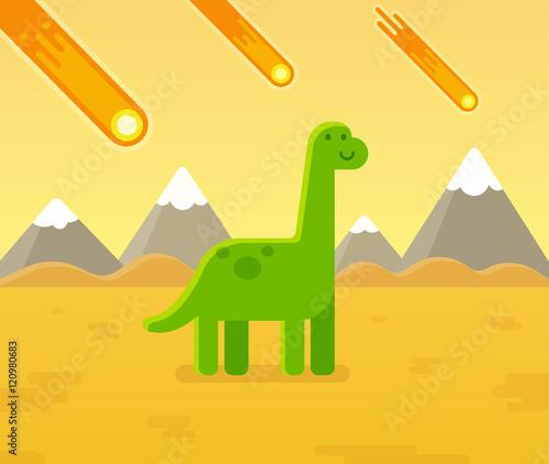 Asteroid strike dinosaur cartoon