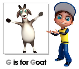 Kid boy pointing Goat