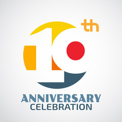 Template Logo 10th anniversary with a circle and the number10 in