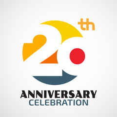 Template Logo 20th anniversary with a circle and the number20 in