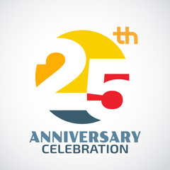 Template Logo 25th anniversary with a circle and the number25 in