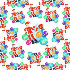 seamless pattern christmas balls and Santa Claus smiling.