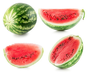 collection of watermelon isolated on the white background