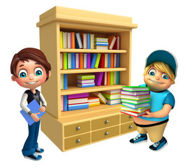 Kid boy with Book shelves