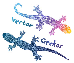 Vector gecko silhouettes with tribal ethno doodle ornament