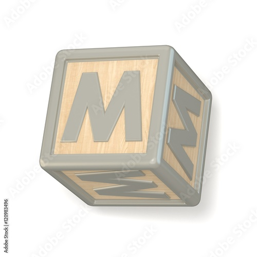Letter m wooden alphabet blocks font rotated 3d stock for 3d wooden alphabet letters