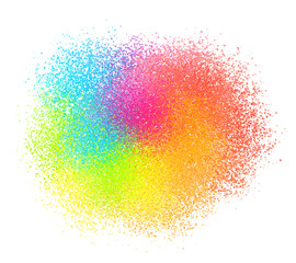 Bright neon colord paint powder vector textured cloud