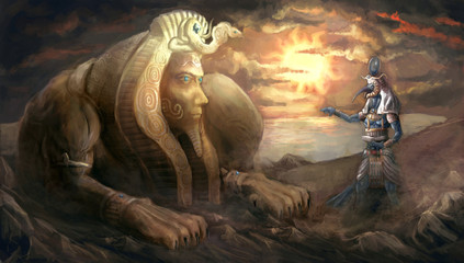 egyptian sphinx and god Thoth
