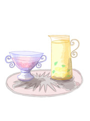 Сolorful jars full of lemon juice and strawberry or raspberry juice drawn by watercolor, marker and pencil