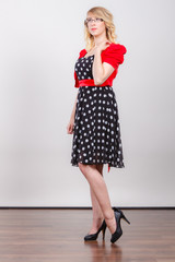 Woman wearing fashion polka dots dress