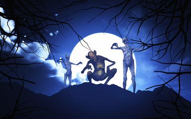 Wall Mural - 3D Halloween demons in a spooky landscape