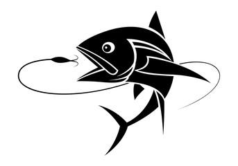 graphic fishing tuna, vector