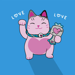 Pink lucky cat cute cartoon illustration on blue background