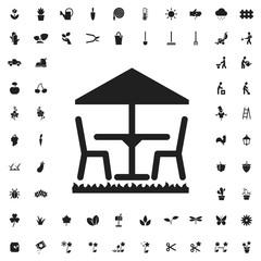 Table and umbrella icon illustration