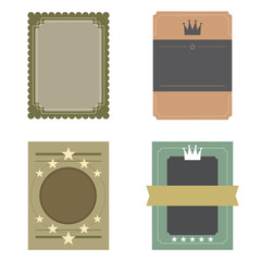 Set of Blank Vintage Retro Rectangle Badge Vector Illustration