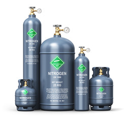 Set of different liquefied nitrogen industrial gas containers