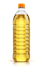Plastic bottle of vegetable cooking oil