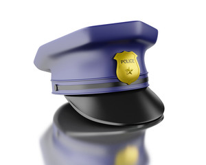 3d Blue officer cop cap on white background.