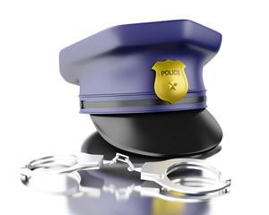 3d Blue officer cop cap with handcuffs.